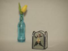 Candle Holder with Dried Flowers (N.the.Kudzu) Tags: tabletop stilllife candle holder dried flowers blue bottle canondslr zenitar50mmf12 lightroom manualfocus primelens flash