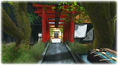The Root of True Harmony (Loegan Magic) Tags: secondlife kyotokagai shrintoshrine shrine japanese kyoto path gate grass catfigure cat statue trees garden chozuya