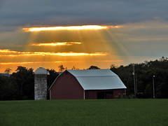 Heavenly Light (George Neat) Tags: somerset county pa pennsylvania buildings structures scenic landscapes georgeneat patriotportraits neatroadtrips barn farm sunset sun clouds