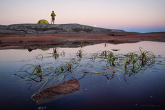 Red lake camp (Petra Ries Images) Tags: samyang12mmf22 sunset wideangle weitwinkel reflection reflexion sonnenuntergang sweden schweden water wasser surreal eveninglight bluehour abendlicht blauestunde manualfocus nature expedition camping tent zelt
