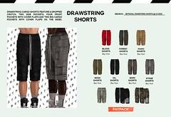 DRAWSTRING SHORTS @ Access Event (Rhuigi Bourne) Tags: betrayal betrayalsl shorts summer rick owens cargo drawstring dropcrotch slim menswear mens designer runway