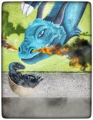 Fantasy Street Art (tatianalovera) Tags: reptile rettile cucciolo baby egg uovo trex rex tirannosauro streetart murales torino turin italy italia piemonte piedmont fantastico fantasy dracon drago