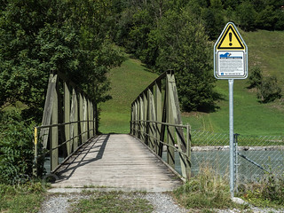 LIN340 Schwaendi Pedestrian Bridge over the Linth River, Diesbach, Canton of Glarus, Switzerland