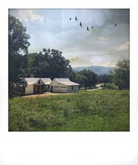 Out in the country. (jeanne.marie.) Tags: polaroid sky iphoneography iphone7plus countryside peaceful quiet modernfarmhouse house birds mountains country summer