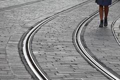 Gentle curves (Elios.k) Tags: horizontal outdoors people oneperson woman legs feet bodypartonly walk walking pedestrian heels skirt shoes street road cobblestone traintracks tramtrack rails curve dof depthoffield backgroundblur foregroundblur colour color travel travelling november2017 canon 5dmkii photography ghent gent belgium belgique flanders flemishregion europe