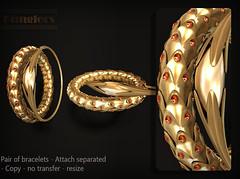 KUNGLERS - Bromelia AD garnet (AvaGardner Kungler) Tags: kunglers avagardnerkungler shinyshabby secondlife virtual jewelry digital mesh bracelets accessories fantasy