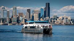 West Seattle Water Taxi, Alki Beach (Paddy O) Tags: alkibeach watertaxi ferry clouds seattle westseattlewatertaxi elliottbay pugetsound spaceneedle 2018 downtownseattle skyline westseattle marinationmakai