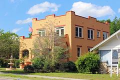 Spanish Revival Style House, Plant City (StevenM_61) Tags: architecture house residence spanishrevival lawn sidewalk fountain trees shrubs plantcity florida unitedstates