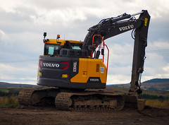 Compact. (HivizPhotography) Tags: volvo ecr145el construction infrastructure excavator tracked plant earthmoving earth aberdeen aberdeenshire awpr scotland uk hills cloud road project zero tail swing