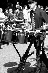Drummer (Von Noorden) Tags: noiretblanc einfarbig wand black white blackandwhite bw sw schwarzweiss germany schwarz weiss weis schwarzweis shade monochrome plain woman cheers baroque costume old flowers carnival hat blackwhite glass glas festival procession parade traditional personen person marching band musican musiker cornet xylophon trumpet drum corps fanfare ballons sunglass sunglasses porkpie