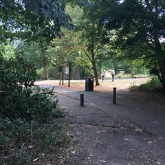 off the beaten track (jovike) Tags: bin bollard cockfosters enfield london people sign tree