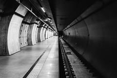 Bright I Dark (Zesk MF) Tags: bw black white schwarz weiss mono subway underground cologne down light darkness 24mm zug train schienen rails zesk