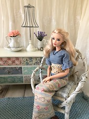 I'm starting to think that it takes awhile to get to know a doll and it doesn't just happen the moment you hold her in your hands. What do you guys think? Do I sound crazy? (JunqueDollBoutique) Tags: shabby chic barbie decor romantic country playscale diorama couture convention 2017 japan doll roombox living room dresser decoupage lamp wicker twig chair pink roses junquedollboutique
