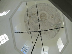 always look up (VERUSHKA4) Tags: canon europe russia arkhangelskyregion northerneurope solovetskyarchipelago monastery church eglise island christ dome window cupolas cupola light travel view vue indoor icon july summer facw hand eyes chain iron detail line ceiling white grey black decor architecture reflection