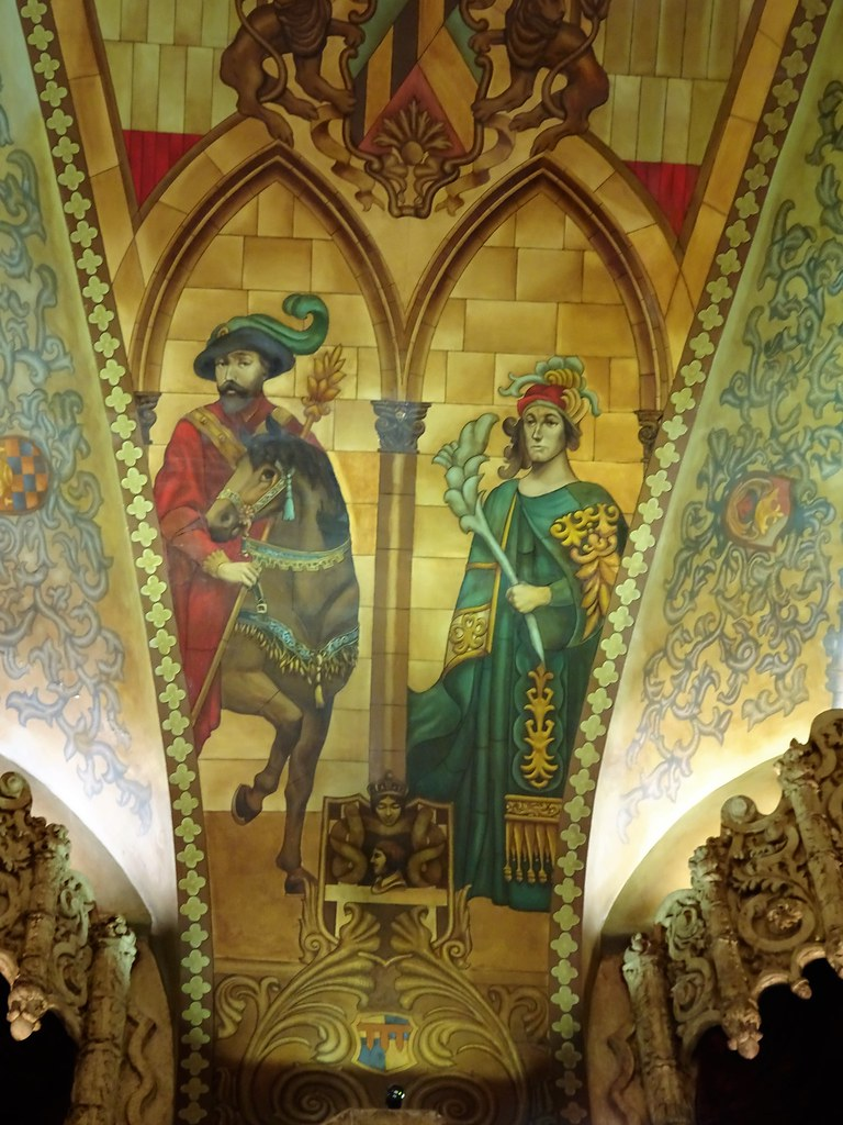 Brisbane. The  Hoyts Picture Palace foyer built in 1929. Gothic paintings on the vaulted roof panels of the foyer.