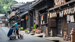 Encounter in the old town (Ralph Rozema) Tags: takayama japan japanese neigborhood merchant historic dogs people old antique kanji city