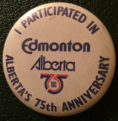 EDMONTON ALBERTA'S 75th ANNIVERSARY--- PIN BACK BUTTON (woody1778a) Tags: edmonton edmontonhistory alberta canada pinback button history mycollection myhobby