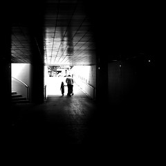 With children (pascalcolin1) Tags: paris12 homme man children enfants poussette stroller tunnel chanel lumière light ombres shadows reflets reflection photoderue streetview urbanarte noiretblanc blackandwhite photopascalcolin 50mm canon50mm canon carré square