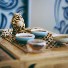 tea gods (YellowTipTruck) Tags: teaparty bunfight greentea tea crockery dishes pouredtea teagods teatable