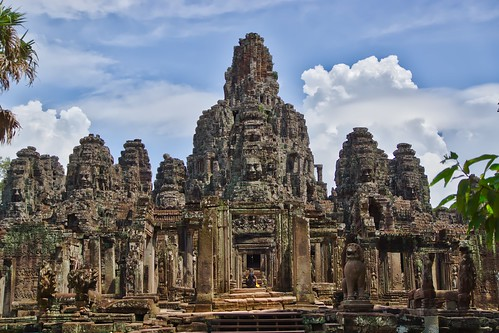 Temple ruins of the Bayon - centre piece of the ancient city of Angkor Thom, Siem Reap, Cambodia