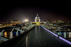Nightview of St.Pauls Cathedral from the Millennium Bridge (EricMakPhotography) Tags: london cathedral town downtown hdr bridge stpaul architectural longexposure cityscape light