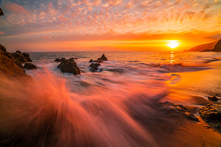 Malibu Sunset Landscape Seascape Photography! California Pacific Ocean Breaking Storm Colorful Clouds! Sony A7R II Mirrorless & Vario-Tessar T* FE 16-35mm f/4 ZA OSS Lens SEL1635Z! Scenic Red, Orange, Yellow Oceanscape Vista! Carl Zeiss Glass Fine Art!