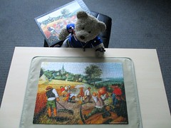 Back to Broygle... (pefkosmad) Tags: jigsaw puzzle hobby leisure pastime tedricstudmuffin teddy ted bear animal toy cute cuddly fluffy plush soft stuffed used secondhand incomplete missingpieces summer pieterbreugheltheyounger painting art fineart