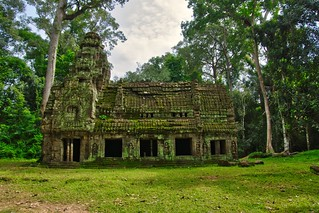 Small building at the entrance to Preah Khan temple ruins in Angkor Archeological Park near Siem Reap, Cambodia