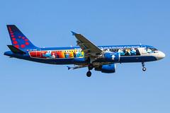 OO-SND (markyharky) Tags: heathrow airport heathrowairport london londonheathrow lhr egll aircraft aviation avgeek oosnd a320 airbus airbusa320 brussels airlines brusselsairlines smurfs aerosmurf