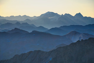 Early morning view to the Ortler group from Piz Languard