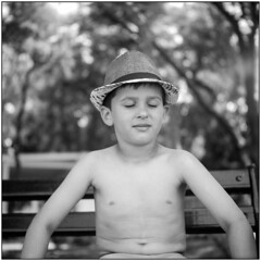Boy with a hat (Koprek) Tags: yashicamat124g fuji acros 100 novalja croatia hat boy portrait 6x6 film medium bokeh pag