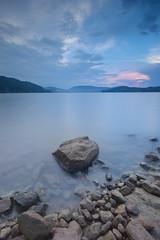 Roznow lake at dusk (Dariusz Wieclawski) Tags: nikon nikond700 nikondslrcarlzeiss nikondigital d700 distagont3518 availablelight zf2 leefilters leegrad leelittlestopper dusk sunset stillwater longexposure rocks aftertherain