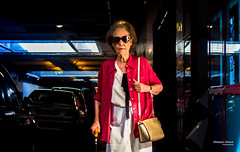 Street - Pink Granny (François Escriva) Tags: street streetphotography candid paris france olympus omd sunglasses bag colors pink blue stick elderly person woman old granny photo rue cars