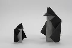 Fat Penguin (Michał Kosmulski) Tags: origami penguin penguins geometric michałkosmulski kamipaper doubletissuepaper handmadepaper colorchange colourchange black white monochrome smileonsaturday blackbeauty