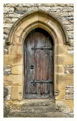 Church Door (Develew) Tags: door doorway holytrinitychurch ashfordinthewater derbyshire derbyshiredales peakdistrict peakdistrictnationalpark england ancient historic wooden old gritstone limestone norman steps architecture