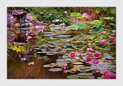 En Plein Air (Christina's World Off and On) Tags: enpleinair landscape california creative colorful clouds impressionism impressionistic artistic digitalart pond garden waterlily lotus duck nature waterscene painterly usa sandiego reflection botanicgarden outdoors