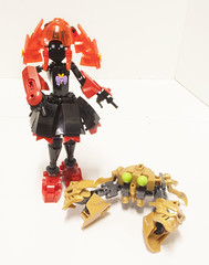 Nexu Crab (Ben Cossy) Tags: moc afol tfol crab water rahi animal sea ocean crustaceans gold ccbs bionicle biotube biogram mata nui gawahi cute tablescrap