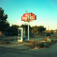 ace motel (xpro). mojave desert, ca. 2018. (eyetwist) Tags: eyetwistkevinballuff eyetwist acemotel motel sign vintage payphone phonebooth california mojavedesert xpro film analog analogue mamiya6mf mamiya75mmf35l 75mm kodak ektachrome e100vs lenstagger kodakektachromee100vs crossprocessede6toc41 crossprocess crossprocessed mamiya 6mf ishootfilm emulsion mamiya6 square 6x6 mediumformat 120 ishootkodak 100vs epsonv750pro cross process processed saturated contrast lucernevalley type typography typographic lonely telephone phone booth mojave desert