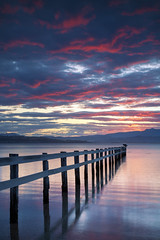 Tasmanian Sunsets || RIVER DERWENT || SOUTH ARM (rhyspope) Tags: australia aussie tas tasmania hobart river derwent water sunrise sunset sky clouds color colour fence lines reflection rhys pope rhyspope canon 5d mkii south arm southarm nature amazing travel explore beach