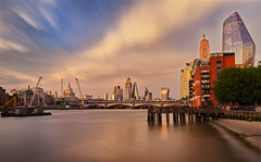 London twighlight LE (Rob McC) Tags: london southbank riverside waterfront thames buildings architecture oxo walkietalkie cheesegrater stpauls le longexposure goldenhour twighlight sunset clouds pier beach landscape cityscape river reflections
