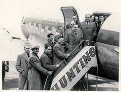 Men boarding a Hunting aeroplane (Colin John Ford) Tags: found old vintage aeroplane hunting clan