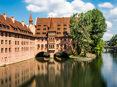 Nuremberg; Heilig Geist Spital (drasphotography) Tags: nuremberg nürnberg frankonia franken bayern bavaria heilig geist spital river pegnitz reflection reflektion long exposure langzeitbelichtung flus drasphotography nikon d810 nikkor2470mmf28 medieval mittelalter travel travelphotography reise reisefotografie sky himmel clouds tree city cityscape urban oldtown altstadt