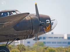 Movie Prop Memphis Belle (B17F Flying Fortress WWII bomber) coming in for a landing at Melbourne Airshow, FL, 2018-03-24 (JS_Photos) Tags: classicmilitaryaircraft ww2 bomber movieprop airshows