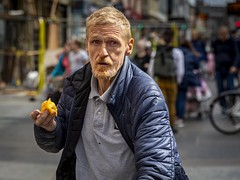 Life Is Not Always Peachy (Leanne Boulton) Tags: portrait people urban street candid portraiture streetphotography candidstreetphotography candidportrait streetportrait eyecontact candideyecontact streetlife man male face eyes expression mood emotion feeling peach fruit eating beard blond ginger powerful storytelling vulnerable socialdocumentary poignant tone texture detail depthoffield bokeh naturallight outdoor light shade city scene human life living humanity society culture lifestyle canon canon5dmkiii 70mm ef2470mmf28liiusm color colour glasgow scotland uk