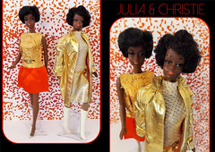 1971 TALKERS! (ModBarbieLover) Tags: julia christie doll barbie mod aa 1971 1972 19671968 pak fashion mattel gold red pink white black afro talking