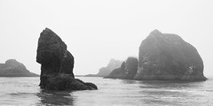 Layers of fog (briangeerlings) Tags: rocks rockformation ocean sea pacificocean oregon nature landscape sigmadp2merrill foveon water waves fog coast oregoncoast blackandwhite bw monochrome