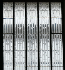 Lilies not yet open - panel of Lalique glass - Glass Church, Jersey (Monceau) Tags: glass panel lilies notopen trumpetlike glasschurch renélalique jersey millbrook anglican lalique