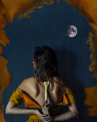Cambio //  Change (Kathy Chareun) Tags: blue azul art arte ps photoshop lr lightroom yellow amarillo wall pared moon luna stars estrellas night noche paper papel old antiguo antique bones bone huesos hueso death muerte life vida change cambio shadow sombra orange naranja colour colores