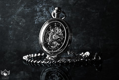 A Broken Minute. (Click King Photography) Tags: nikon sigma dark texture pocketwatch watch black white blue product stilllife object