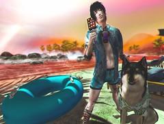 Beach day is best day. 🌊🌴🍭 (drufy937) Tags: summer beach ice cream banana float sea dog